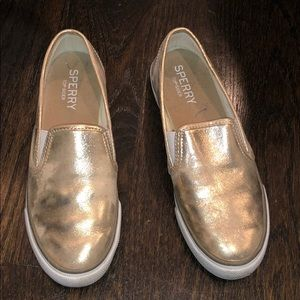 Silver slip on sperry shoes great condition